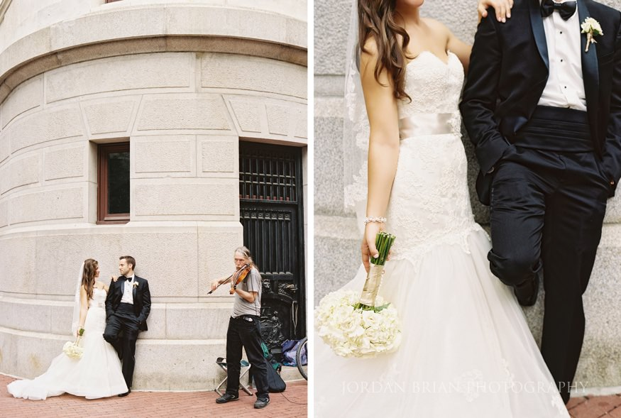 portraits of bride and groom at city hall in philadelphia