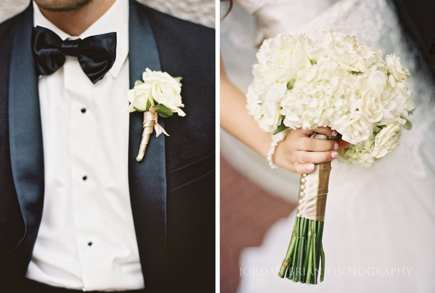 details of bride and groom's flowers