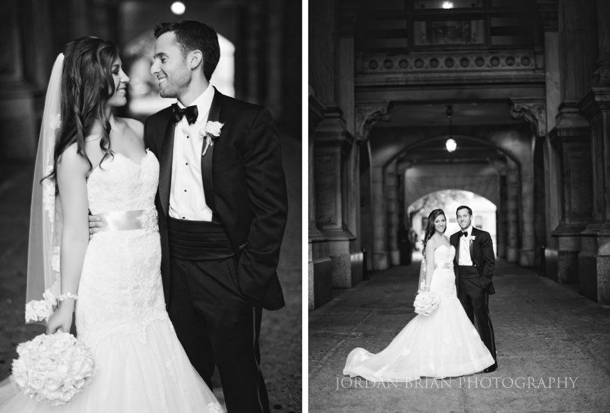 black and white film portraits of bride and groom at city hall in philadelphia