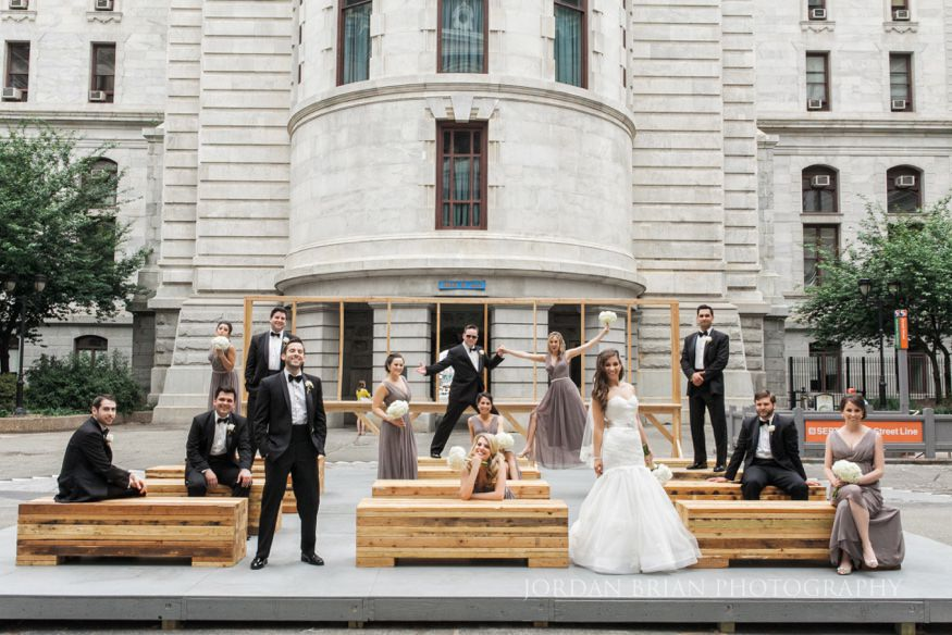 bridal party portrait at city hall in philadelphia