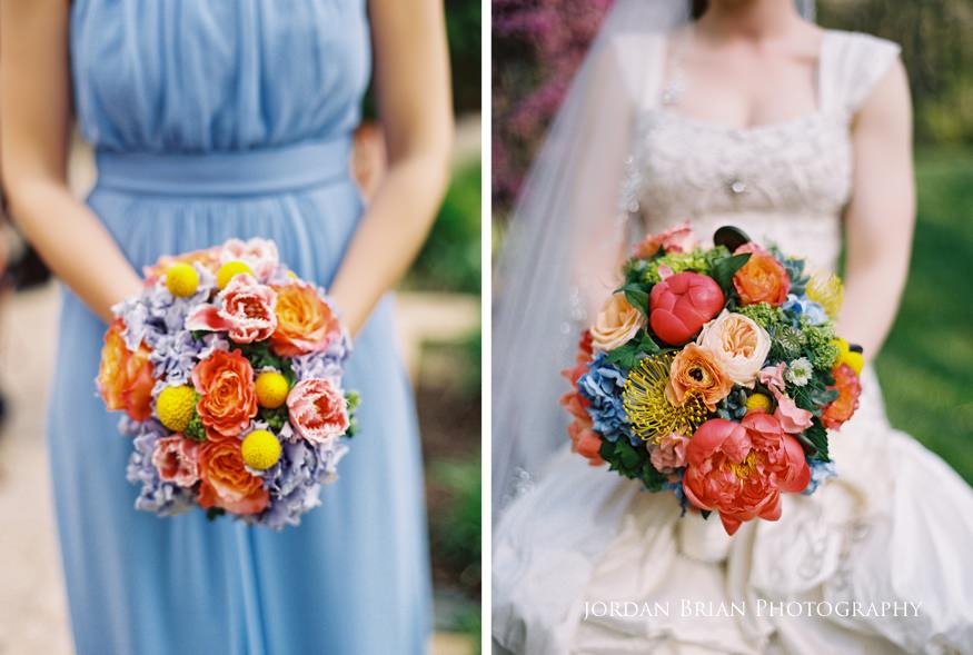 bride and bridesmaid with bouquet at grounds for sculpture wedding