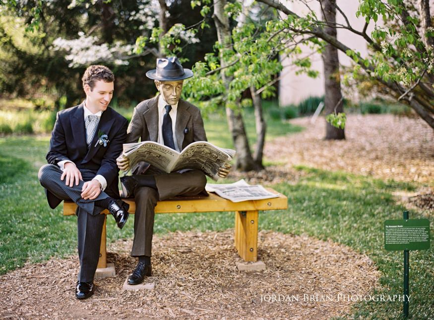 groom portraits with the newspaper reader by seward johnson