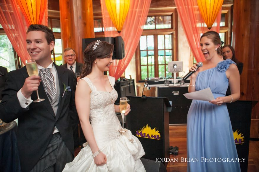 maid of honor toasting bride and groom at grounds for sculpture spring wedding