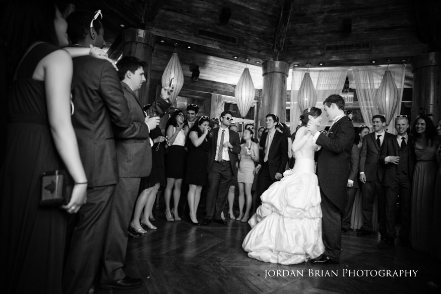 bride and groom first dance at reception at grounds for sculpture spring wedding