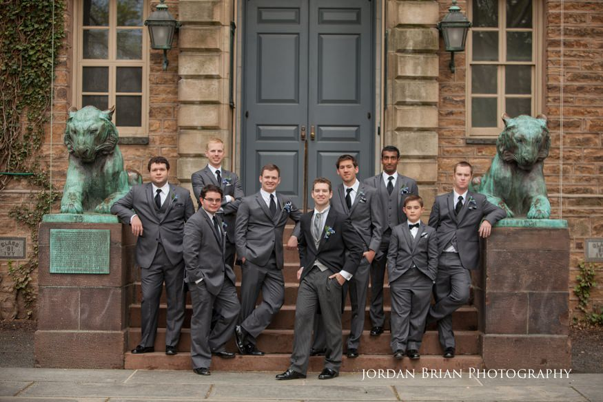 groom and groomsmen in front of princeton university before grounds for sculpture wedding