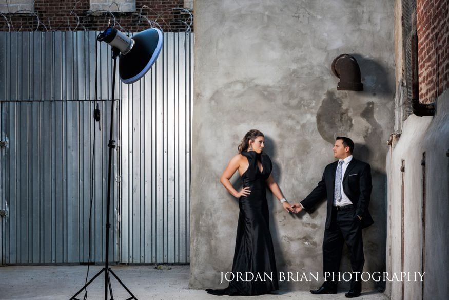 Philadelphia engagement session in warehouse.