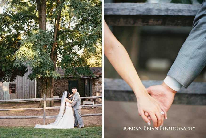 bride and groom holding hands at knowlton mansion wedding