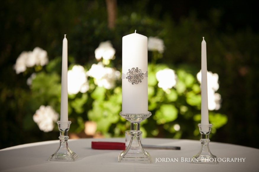 candles at knowlton mansion wedding ceremony
