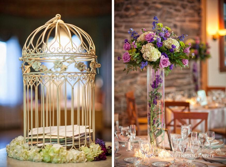 flower details at knowlton mansion wedding reception