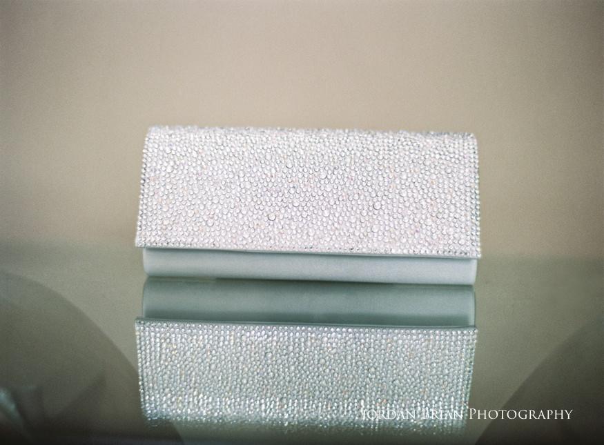 details of bride's purse