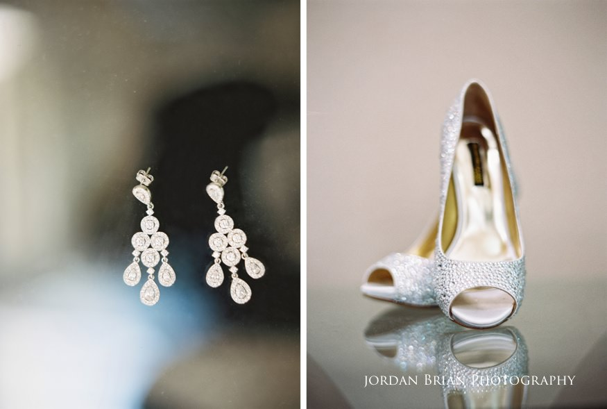 bride's details or earring at shoes