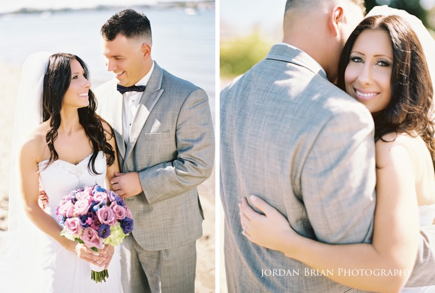 bride and groom portraits by delaware river