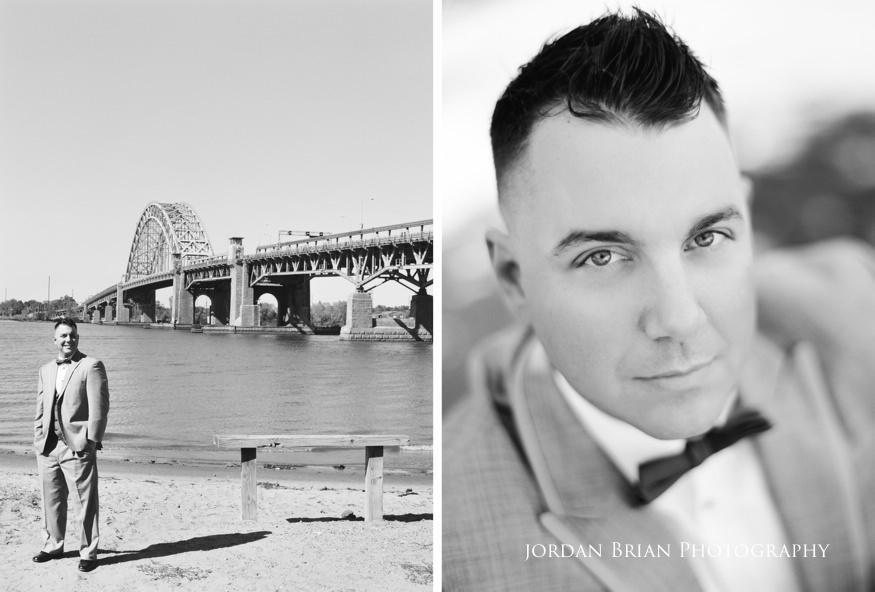 portrait of groom infront of tacony palmyra bridge