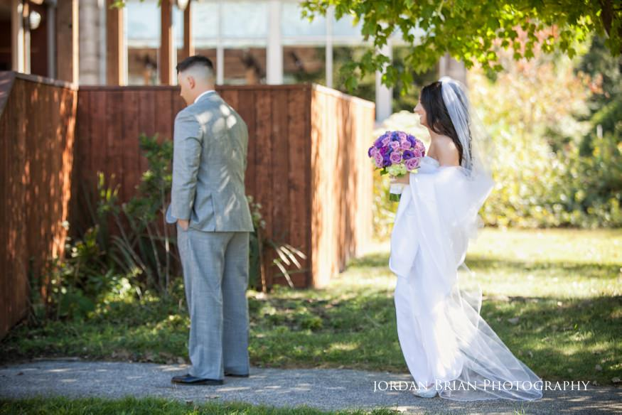 bride and groom first look before wedding at knowlton mansion