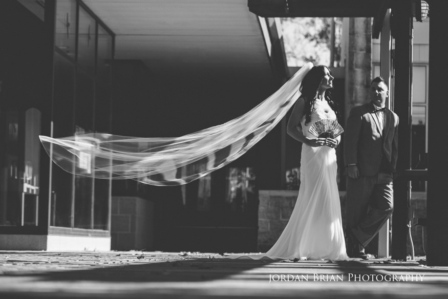 bride and groom black and white portrait at palmyra nature cove park