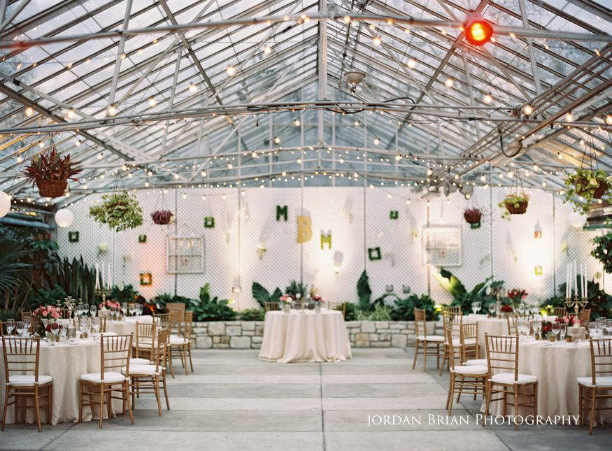 Reception room at Fairmount Park Horticulture Center wedding.