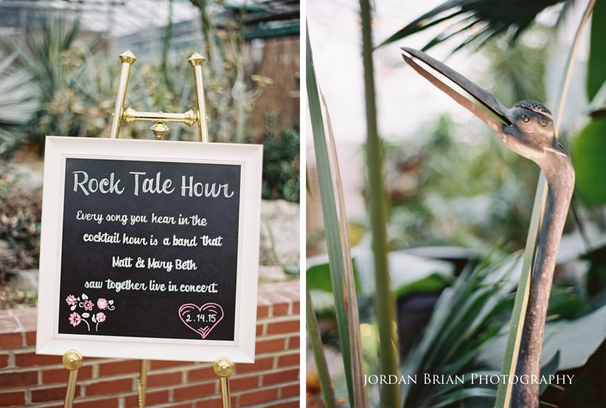 Custom signs for reception at Fairmount Park Horticulture Center wedding.