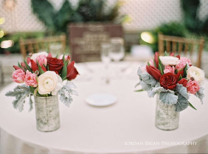 Flower center pieces at Fairmount Park Horticulture Center wedding.