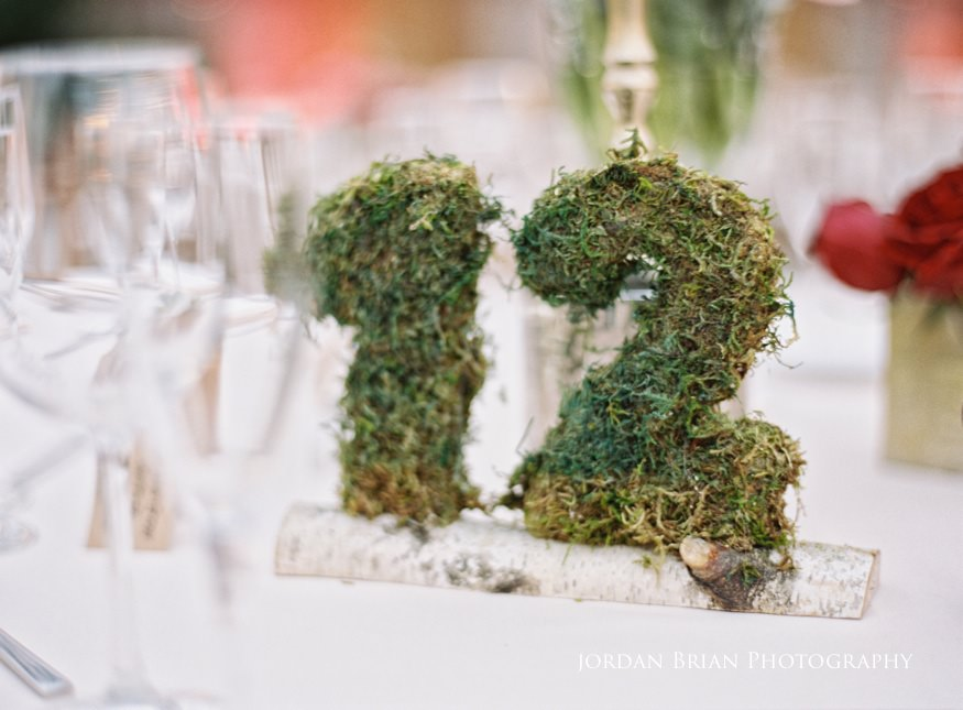 Custom table number photo ideas at Fairmount Park Horticulture Center wedding.