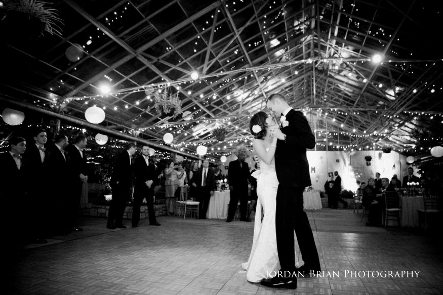 Bride and groom first dance at Fairmount Park Horticulture Center wedding.