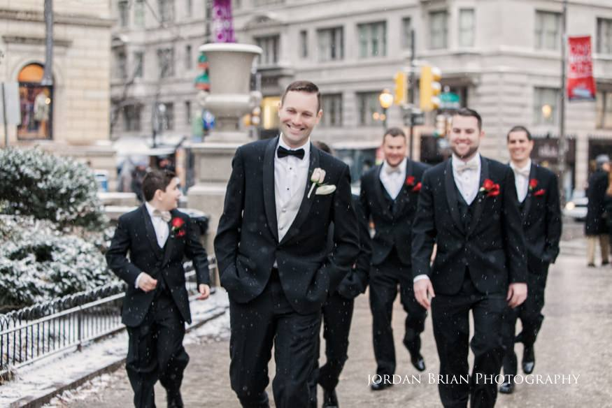 Groomsmen photos in Rittenhouse Square befor their Fairmount Park Horticulture Center wedding.