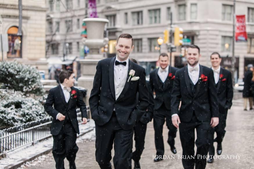 Groomsmen photos in Rittenhouse Square