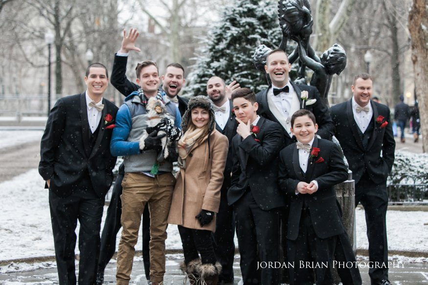 Groomsmen photobombed with strangers in Rittenhouse Square