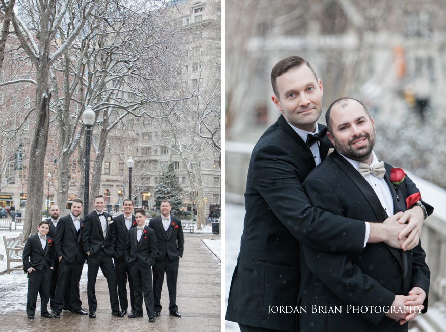 Groom portraits in Rittenhouse Square befor their Fairmount Park Horticulture Center wedding.