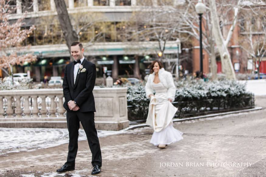 Bride and groom reveal in Rittenhouse Square befor their Fairmount Park Horticulture Center wedding.