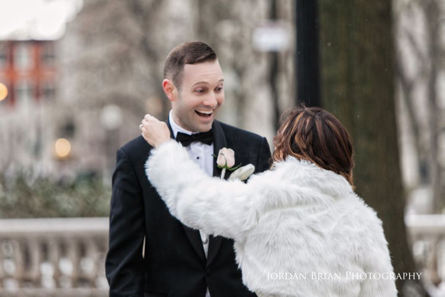 Bride and groom reveal in Rittenhouse Square