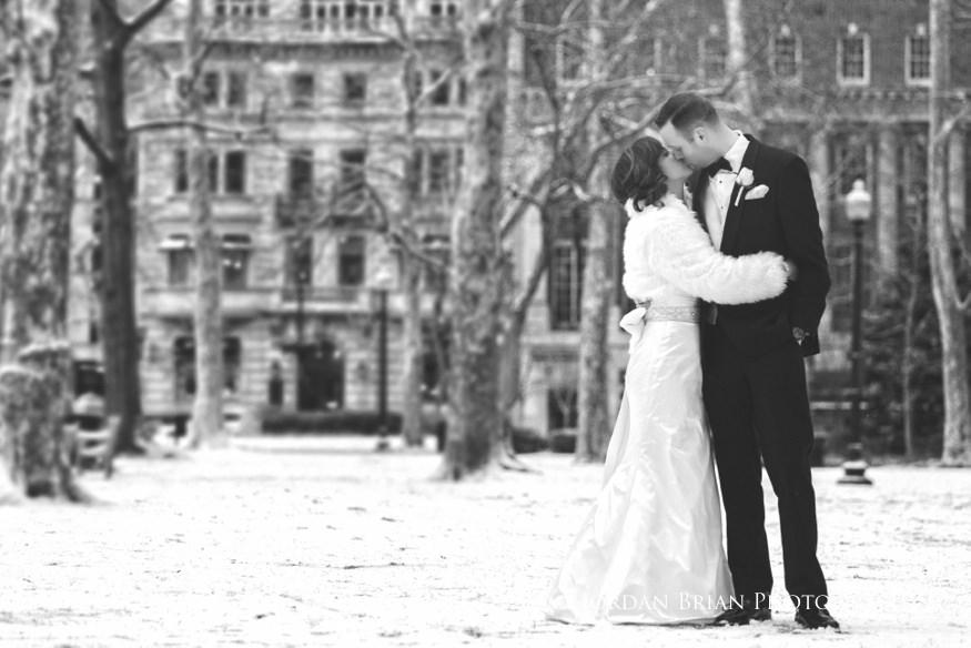 snowy bride and groom portrait Rittenhouse Square