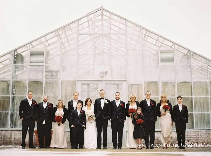 Bridal party photos at Fairmount Park Horticulture Center wedding.