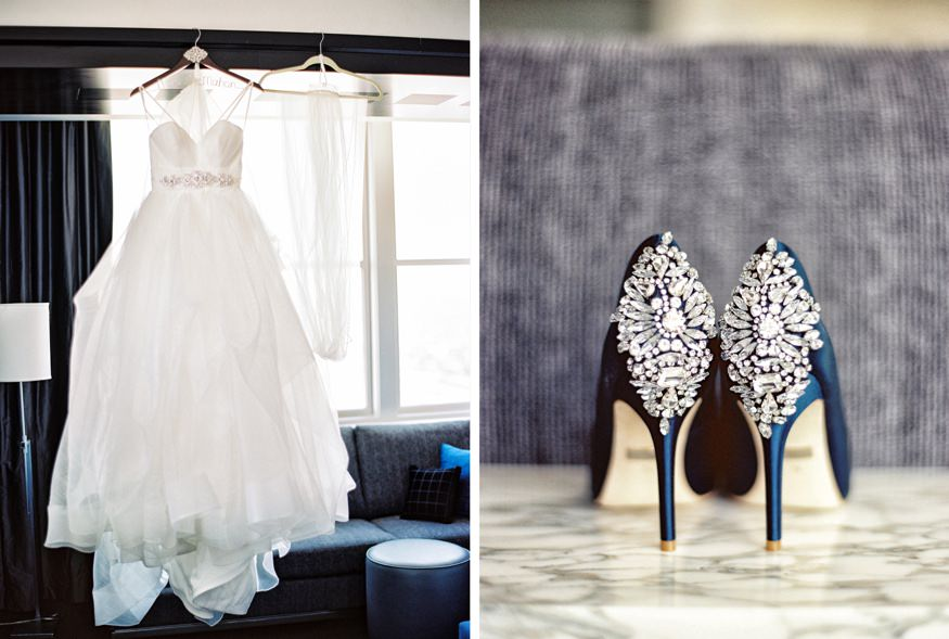 Hayley Paige wedding dress and Badgley Mischka shoes at the Loews Hotel in Philadelphia.