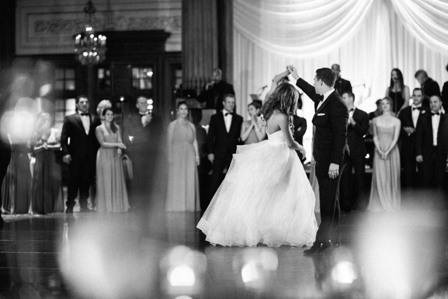 Bride and groom first dance at Crystal Tea Room summer wedding.