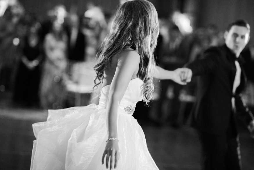 Bride and groom first dance at Crystal Tea Room summer wedding.