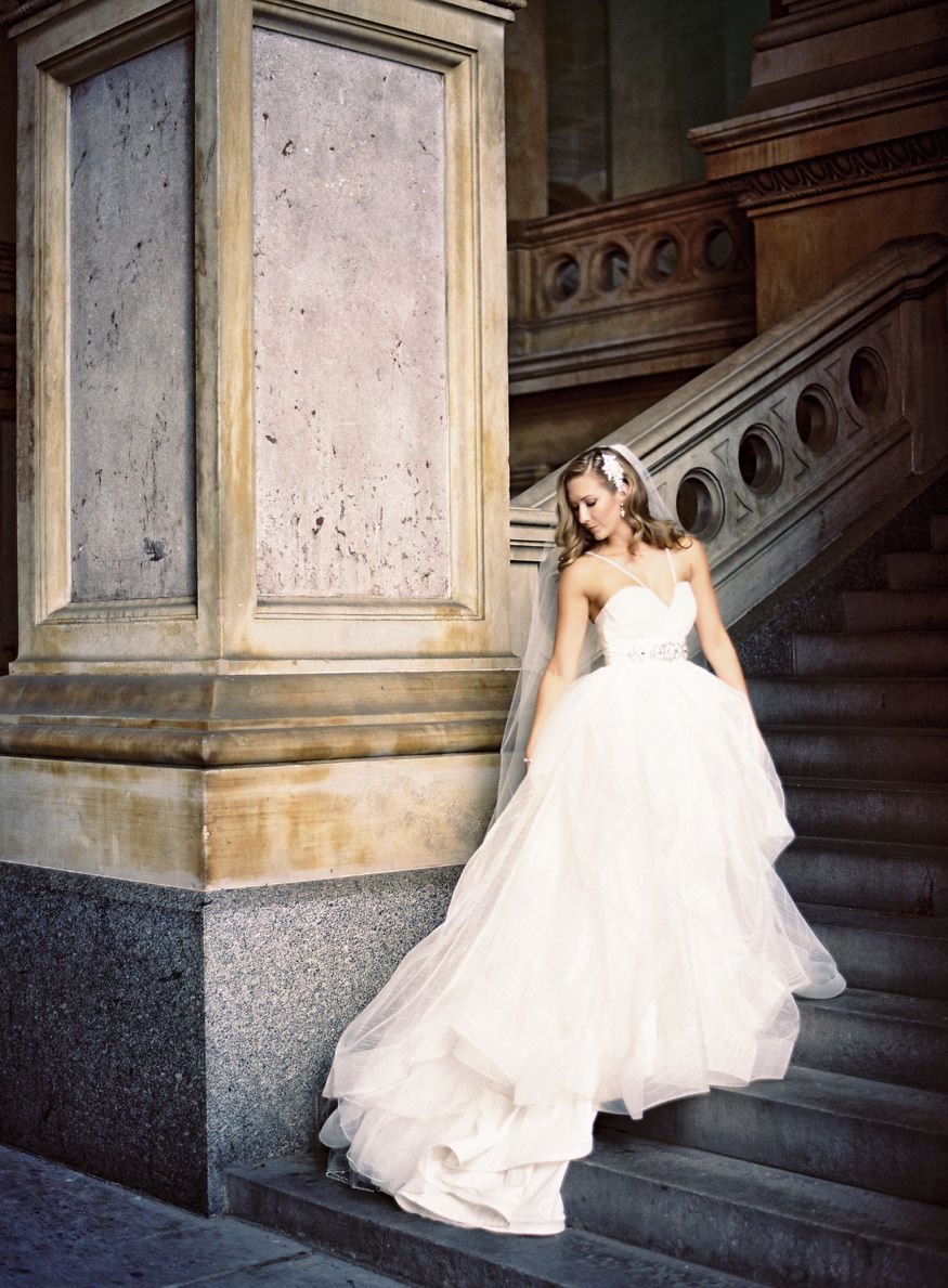 Bridal portraits in City Hall Philadelphia before Crystal Tea Room wedding.