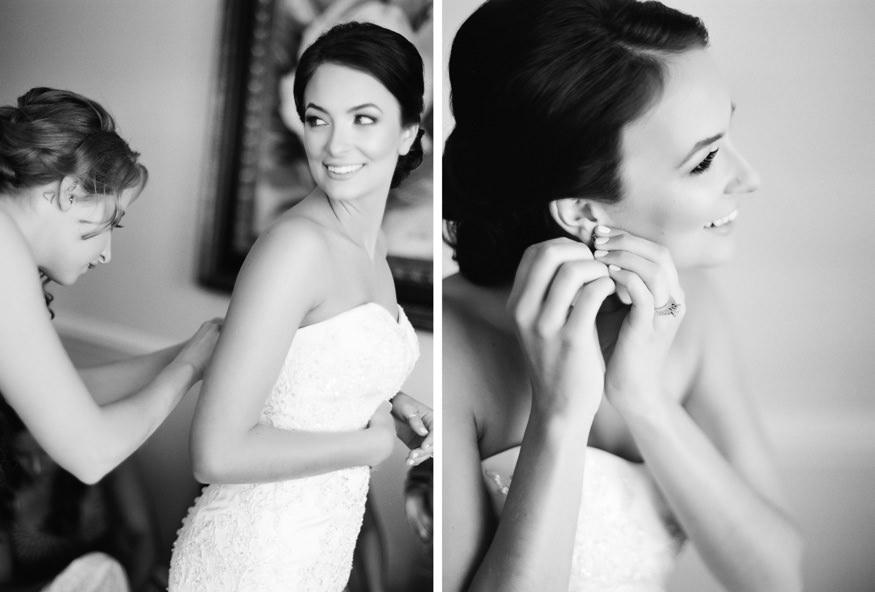 Bride getting ready at spring Trump National Golf Club Philadelphia wedding.