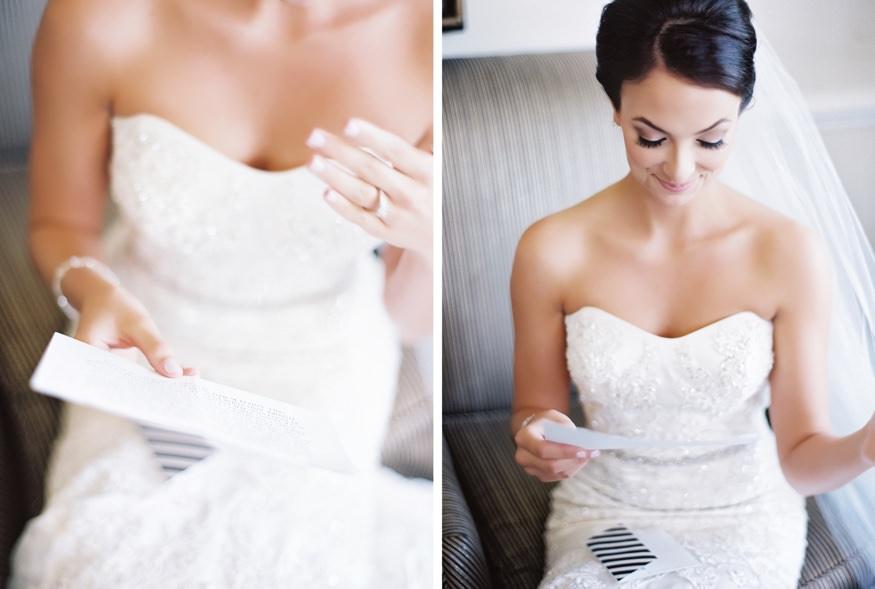 Bride getting ready at Trump National Golf Club wedding.