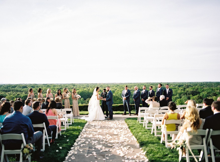 Wedding ceremony at spring Trump National Golf Club Philadelphia wedding.