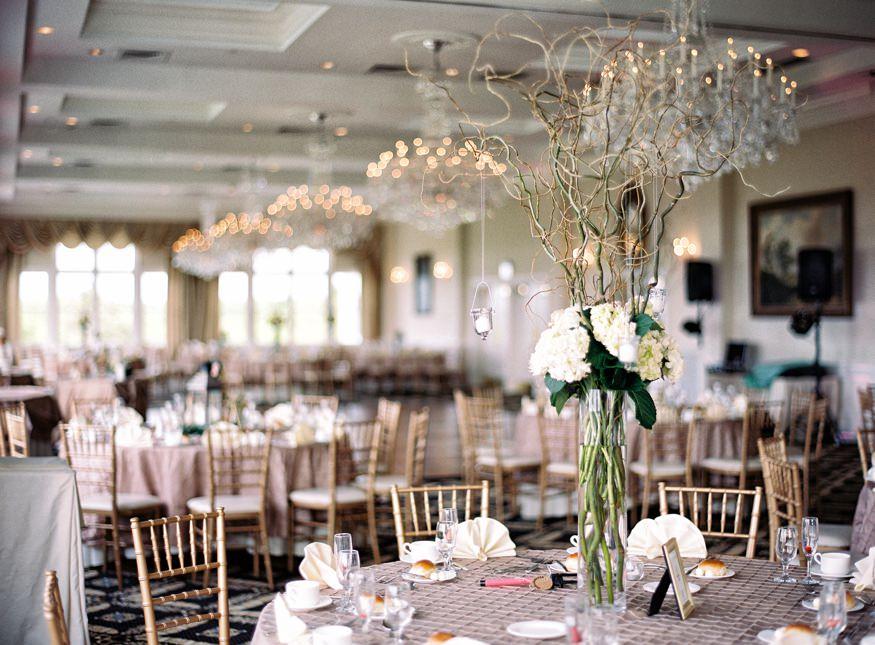 Reception details at Trump National Golf Club wedding.