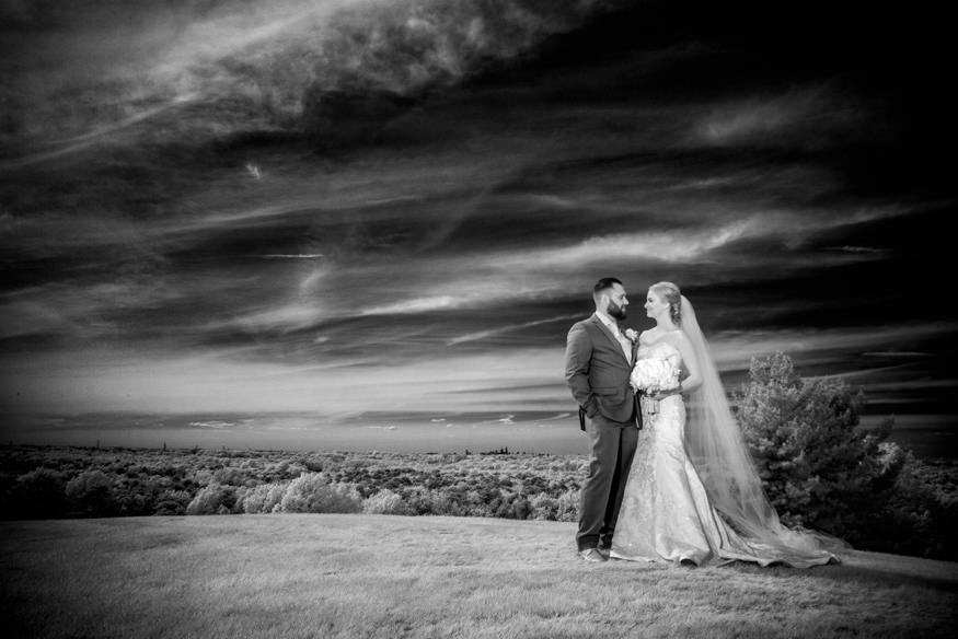 Infrared portrait of Bride and Groom at Bride Trump National Golf Club wedding.