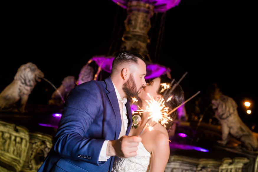 Bride and Groom night portraits with sparklers at Trump National Golf Club wedding.