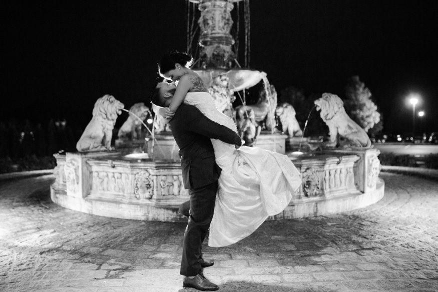 Bride and Groom night portraits at Trump National Golf Club wedding.