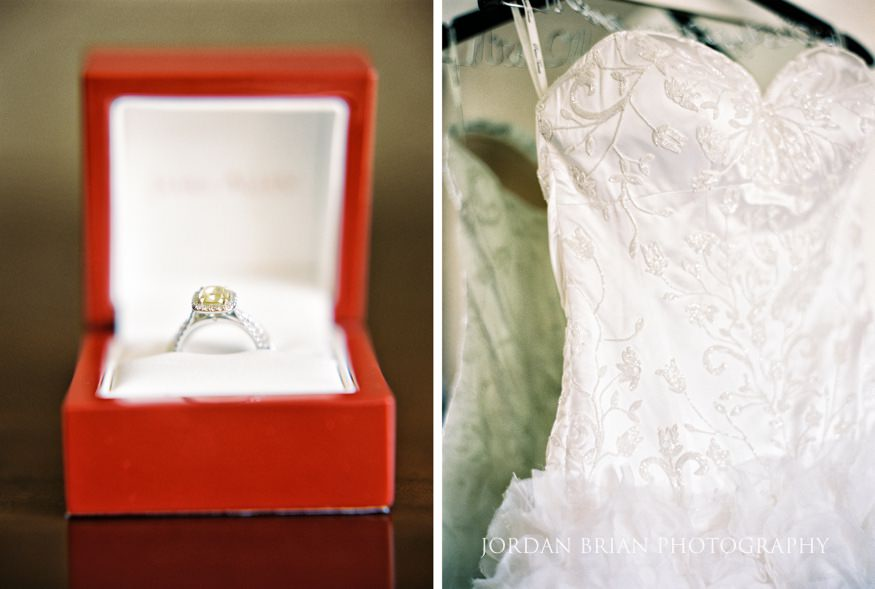 Wedding dress by Pnina Tornai and ring from James Allen.