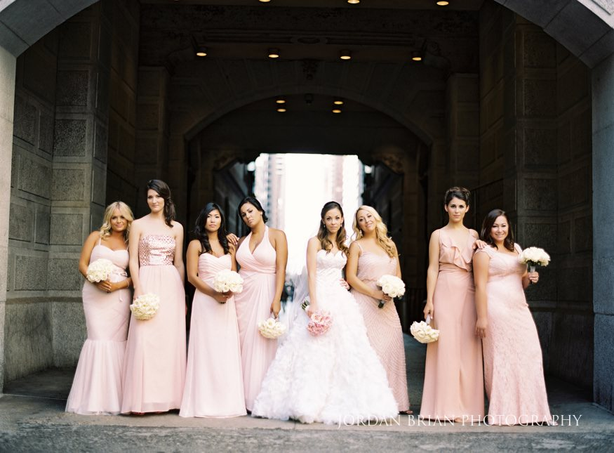 Bridesmaids at City Hall Philadelphia before Bellevue wedding.