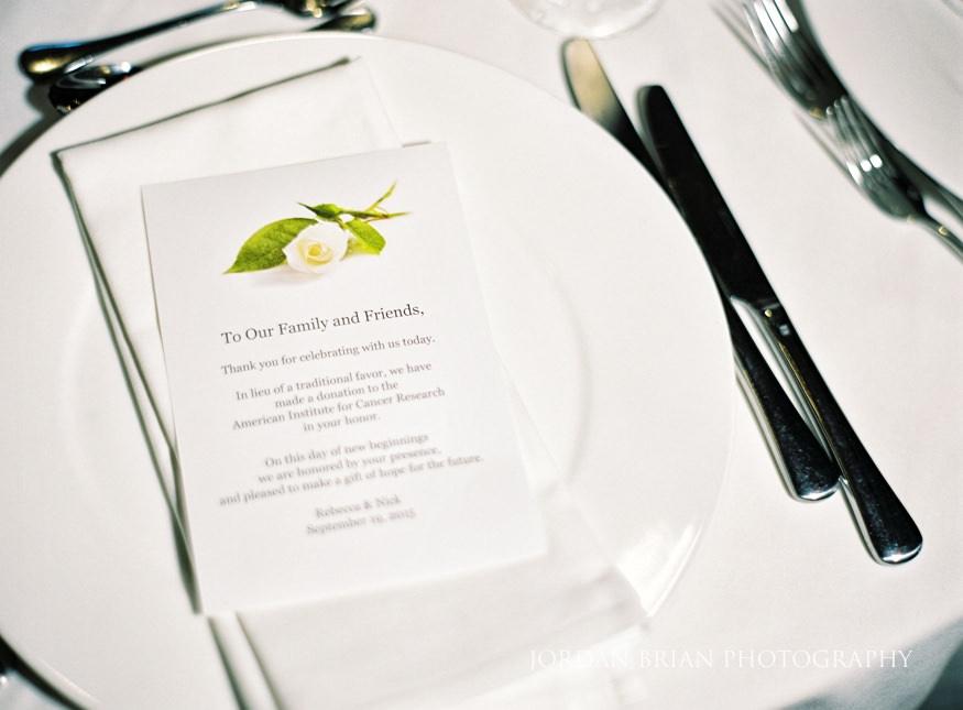 Wedding reception menu at Bellevue Hotel Wedding.