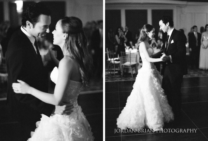 Bride and groom first dance at Bellevue Hotel wedding.