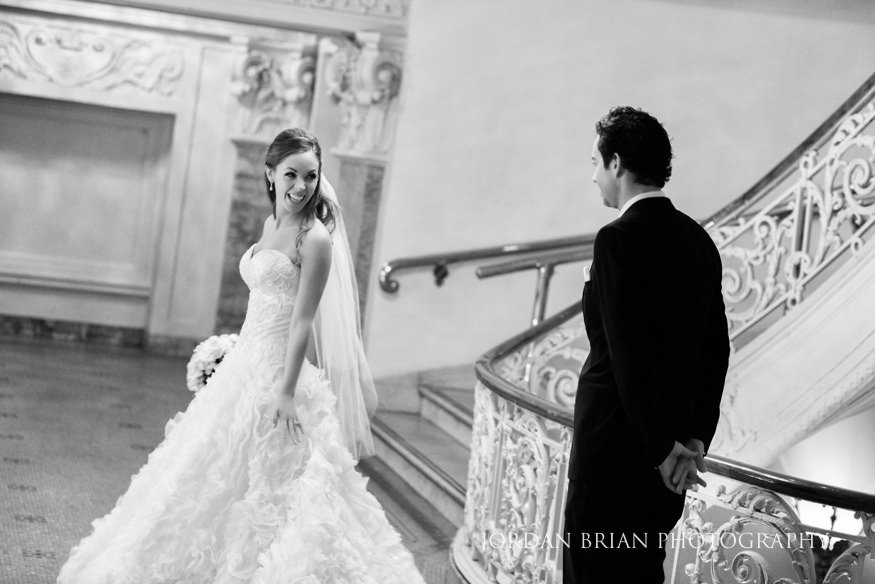 Bride and groom first look at Philadelphia Bellevue Hotel wedding.