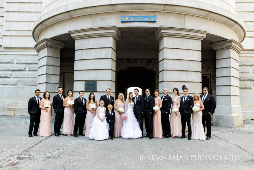 Bridal party at City Hall before Bellevue wedding.