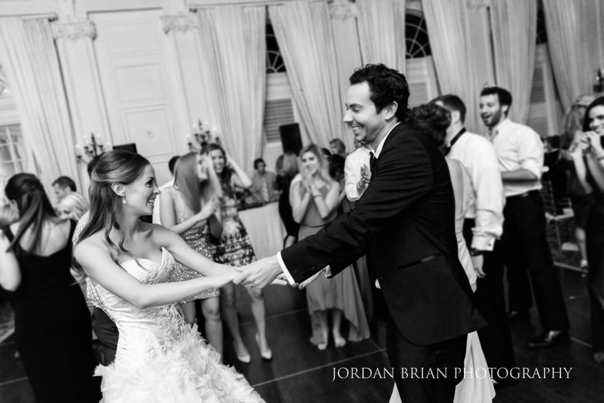 Bride and groom dancing at Bellevue Hotel wedding.